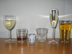 Image 4: Standard Drink Sizes. L to R: 5 ounces of wine, 1.5 ounce of bourbon straight up, 1.5 ounce shot of vodka, 1.5 ounce of vodka on the rocks, 3.3 ounces of Champagne and 12 ounces of regular beer. Courtesy: Jessica Scott