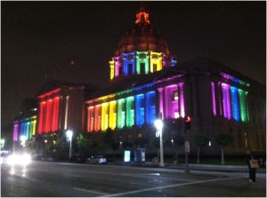 San Francisco City Hall light up in Pride colors for Pride Week-end.